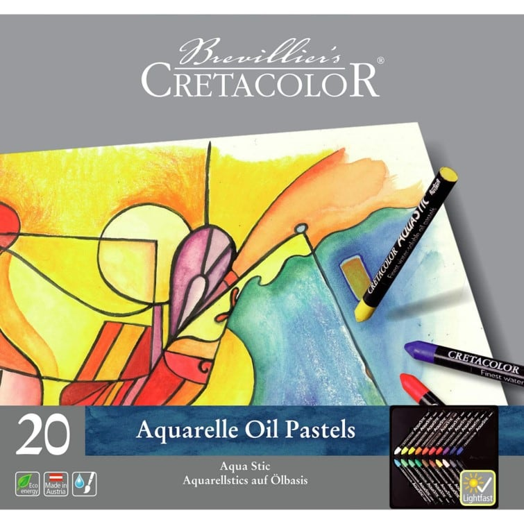 Aqua Stic Water Soluble Oil Pastels - 20 pack including Waterbrush & Pad
