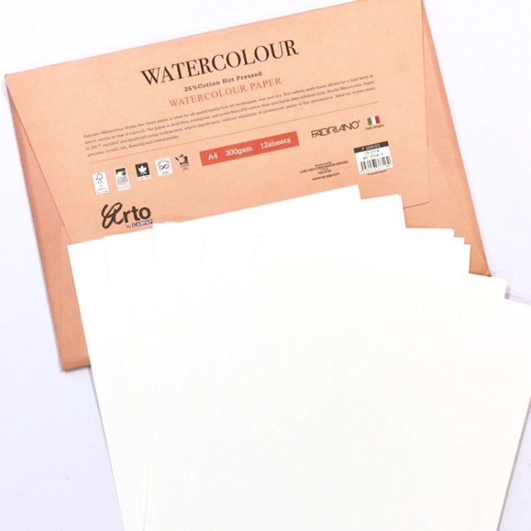300gsm Hot Pressed Watercolour Paper A3 (Pack 12 Sheets)