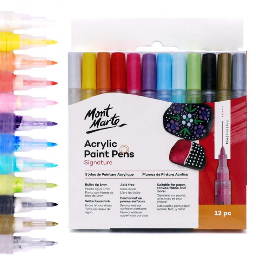 Acrylic Paint Pens Set 12 Fine Tip