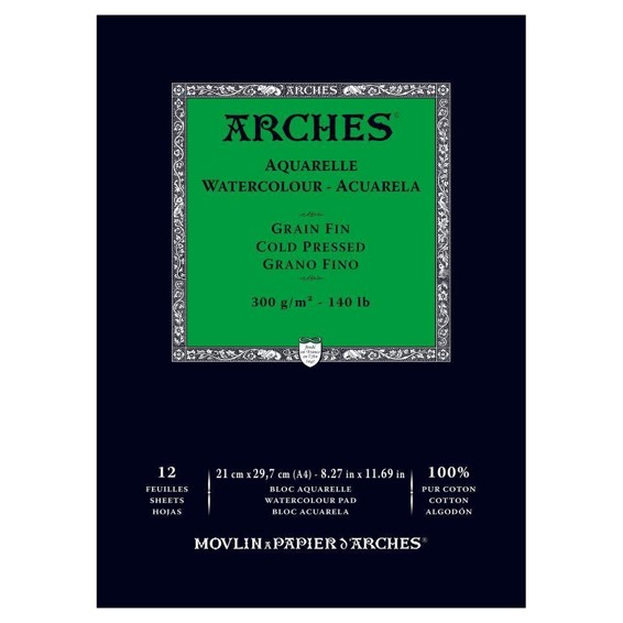 Arches 300gsm Cold Pressed Watercolour Paper Pad - 12 Sheets