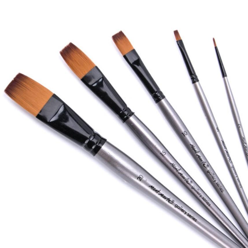 Gallery Series Flat Brush Set Acrylic 5pce