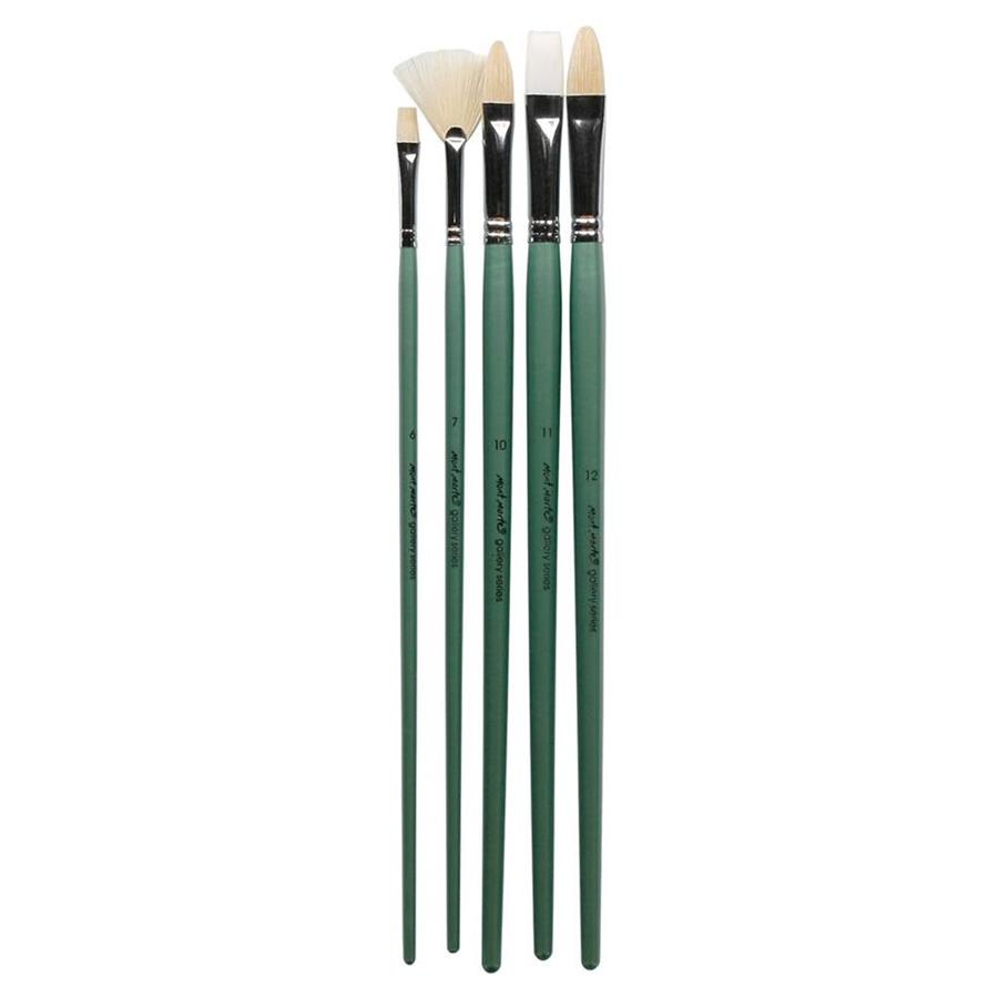 Gallery Series Oil Paint Brush Set 5pc with Fan Brush