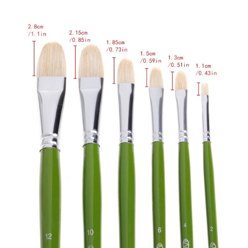 6pcs Hogs Hair Filbert Brushes