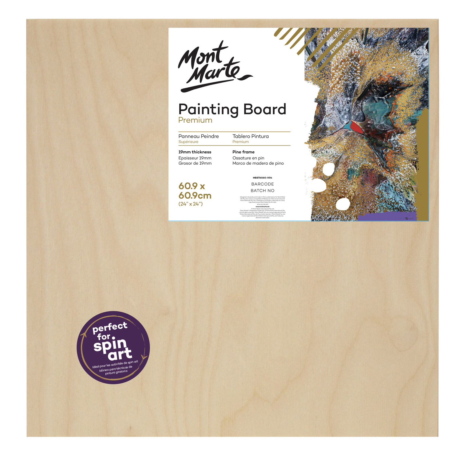 Premium Wood Painting Board 60.9 x 60.9cm
