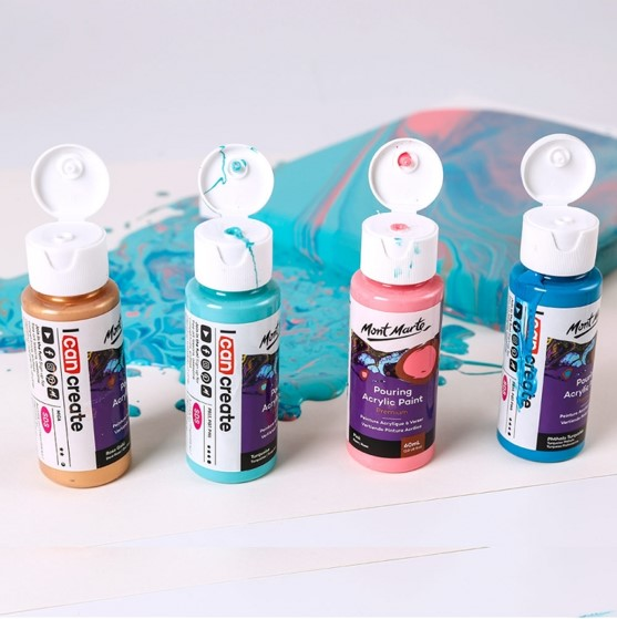 Pouring Acrylic Paint 60ml 4pc Set - Flamingo