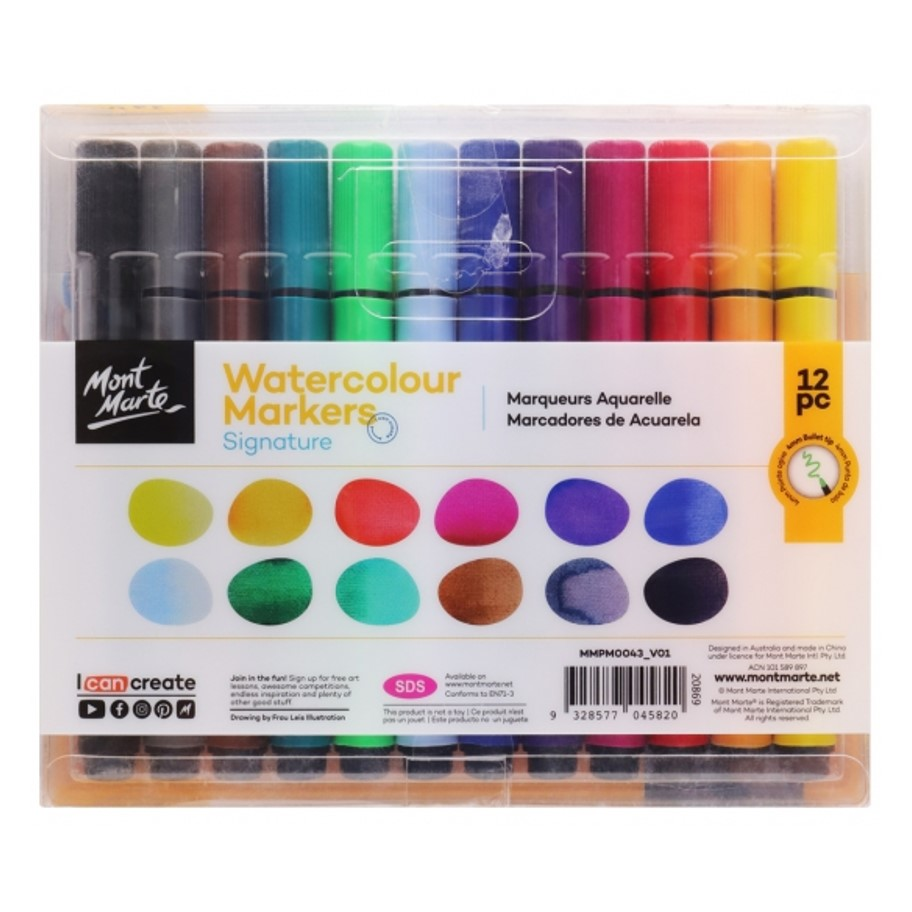 Watercolour Markers Bullet Tip 12 pce