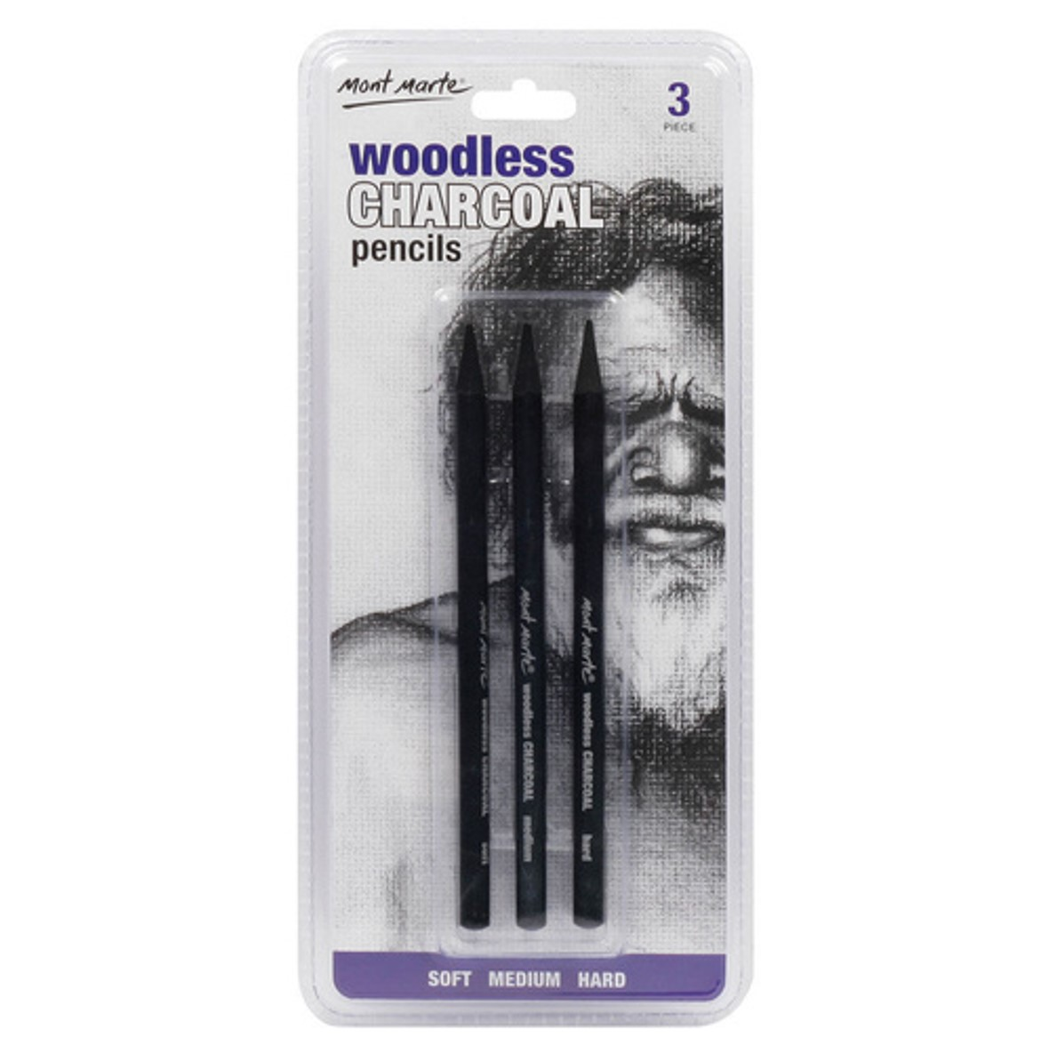 Woodless Charcoal Pencils 3pce