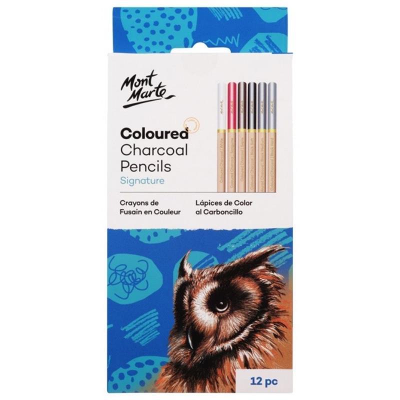 Coloured Charcoal Pencils Set of 12