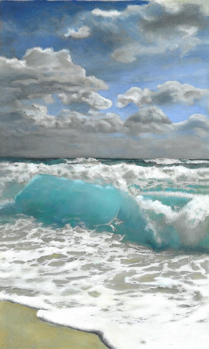 Ocean beach painting by Tracy Saywell