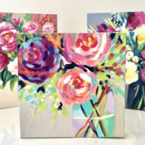 Floral Paint and Sip Canvases