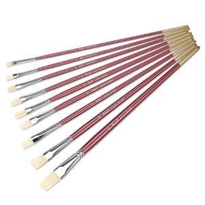 9Pcs Flat Bristle Brush Set