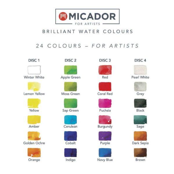 Micador Brilliant Watercolour 24 Set Colours