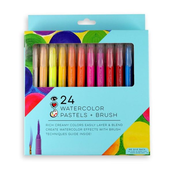 24 Watercolor Pastels and Brush